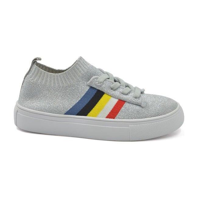 Sams Knit Rainbow Sock Sneaker, Silver