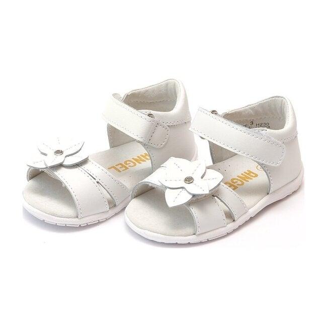 Nancy Jeweled Flower Sandal, White
