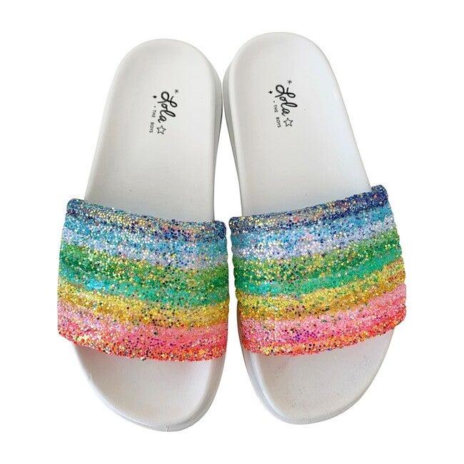 Glitter Rainbow Slides, White