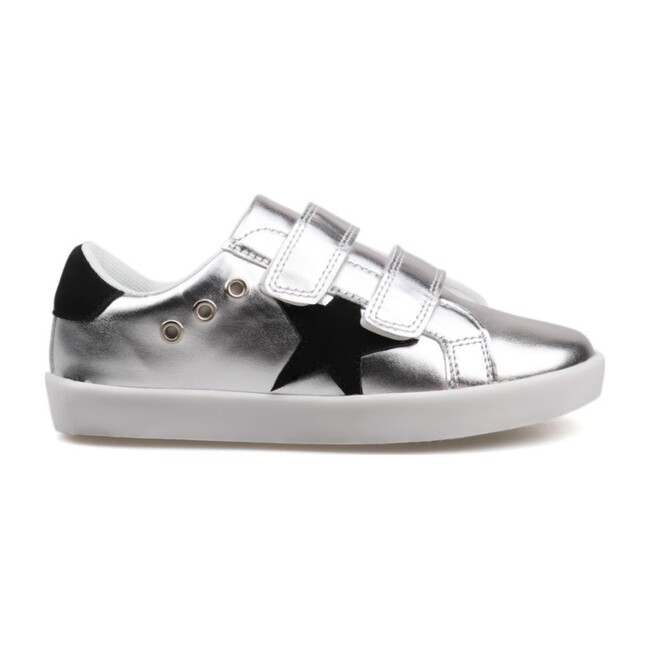 Nylah's Double Velcro Star Sneaker, Silver Metallic