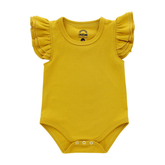 Flutter Sleeve Onesie, Mustard Yellow