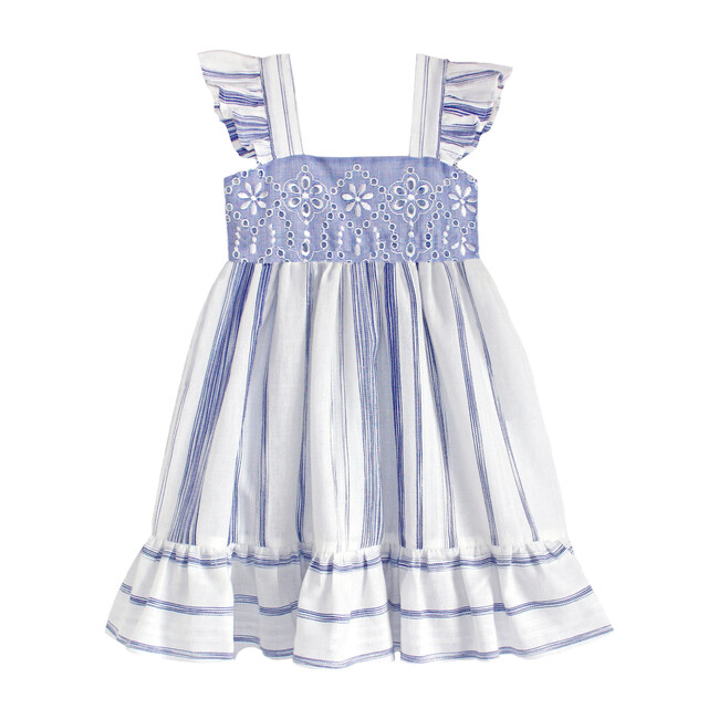 Embroidered Heirloom Stripe Dress, Blue