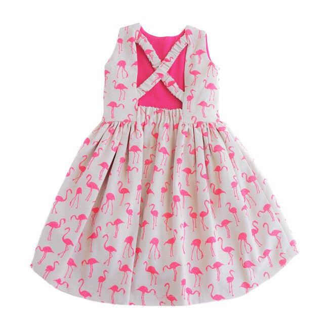 Cross Back Hi-Lo Flamingo Dress, Tan