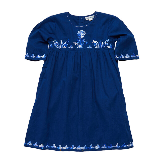 Kids Lotus Embroidery Colette Dress, Navy