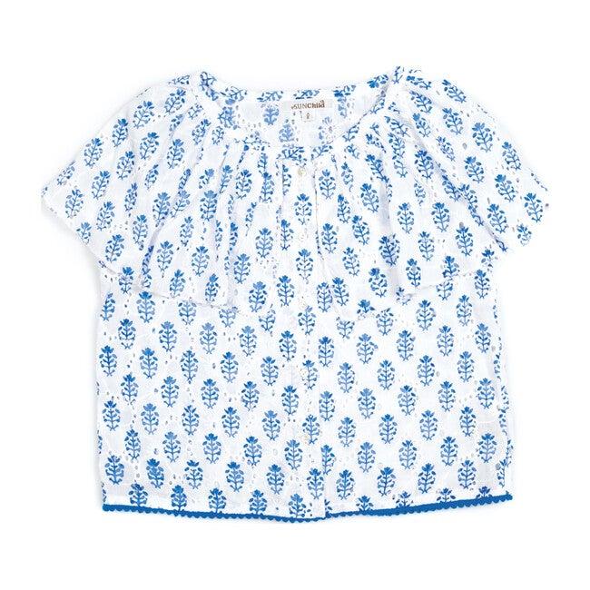 Adenia Sleeveless Top, White and Blue