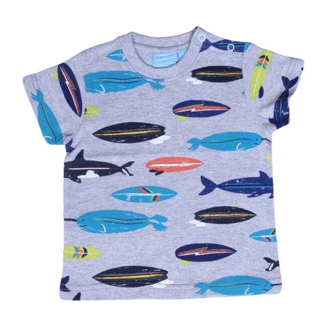Baby Fish Surfboard Tee, Grey Hea