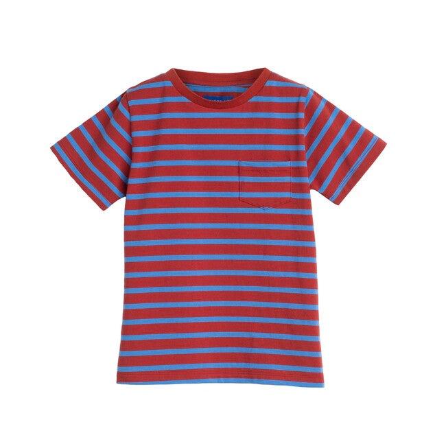 Avery Striped Pocket Tee, Red & Ocean Blue Stripe