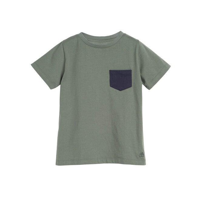 Avery Contrast Pocket Tee, Dusty Olive - Shirts - 1