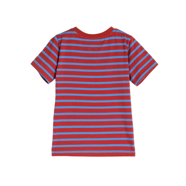 Avery Striped Pocket Tee, Red & Ocean Blue Stripe