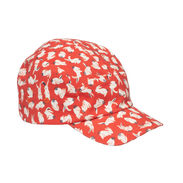 Cameron Twill Cap, Red Scattered Bunnies