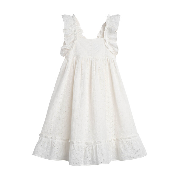Mila Ruffle Tie Back Dress, Embroidered Cotton Voile