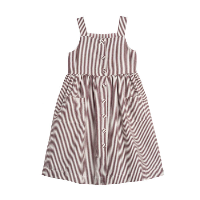 Olympia Button Front Dress, Mocha Stripe