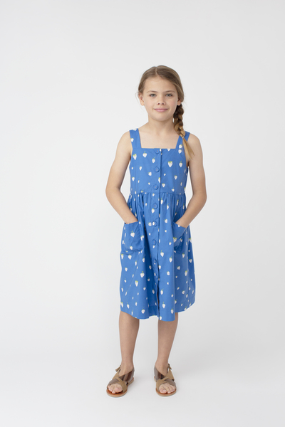 Olympia Button Front Dress, Blue Strawberries