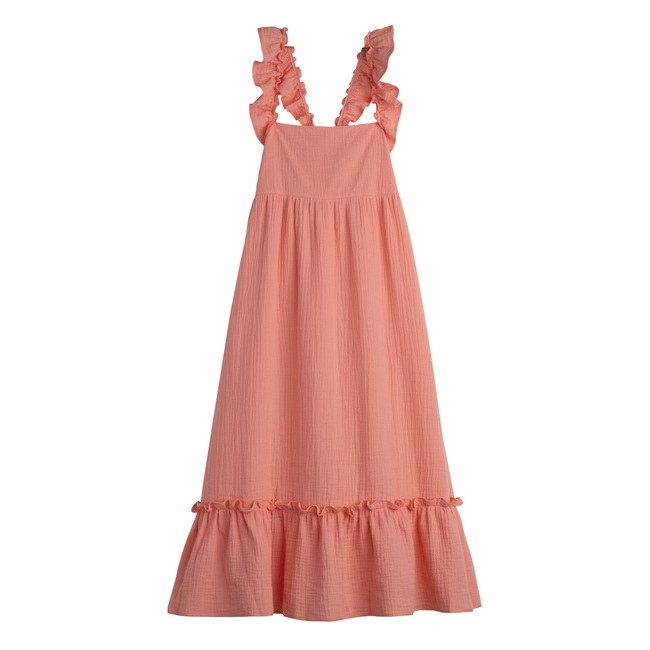 Mara Women's Ruffle Tie Back Dress, Coral Cotton Muslin