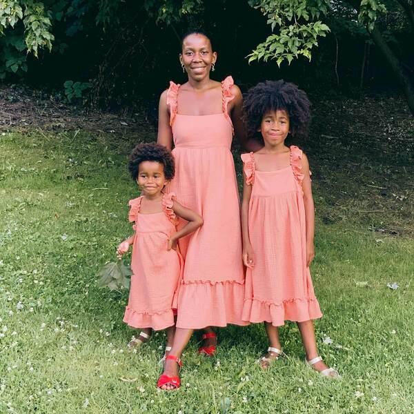 Mara Women's Ruffle Tie Back Dress, Coral Cotton Muslin