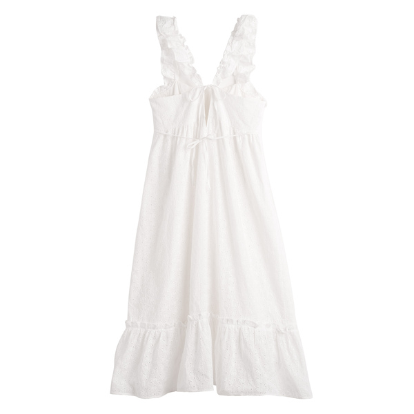 Mara Women's Ruffle Tie Back Dress, Embroidered Cotton Voile