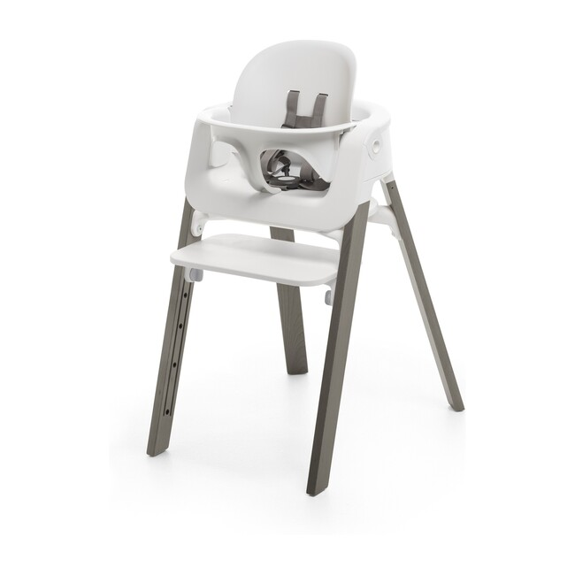 Stokke® Steps™ HighChair, Hazy Grey Legs with White Seat