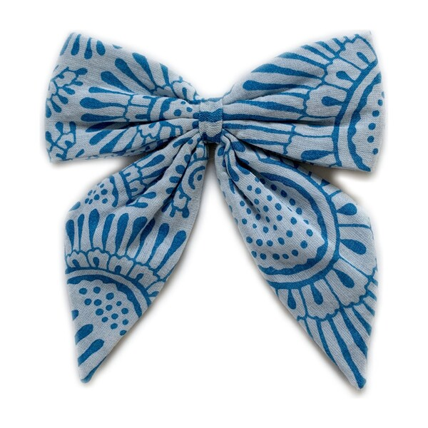 Blue Printed Bow Clip