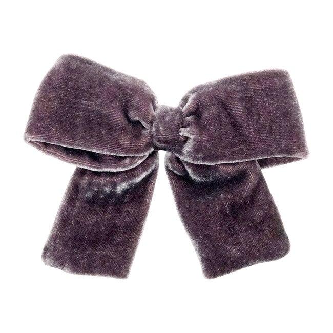 Gray Silk Velvet Bow Clip