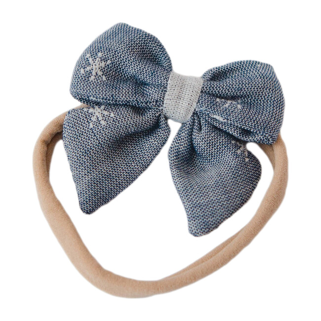 Baby Bow Headband, Chambray Stars