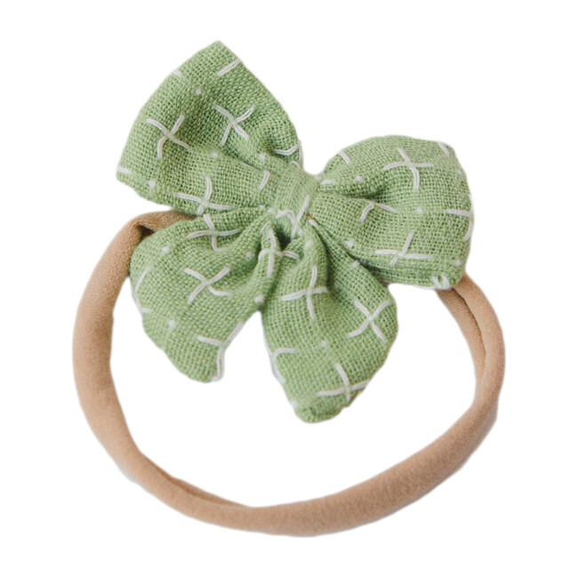 Baby Bow Headband, Green Stitches