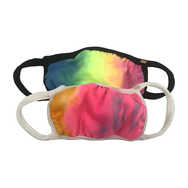 Tie Dye Face Mask Set of 2, Rainbow & Neon Rainbow