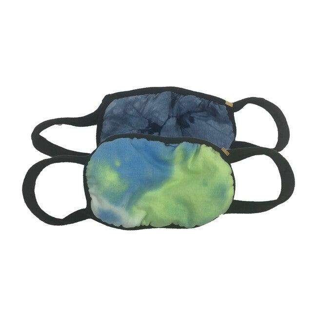 Tie Dye Face Mask Set of 2, Navy Blue & Ocean Blue