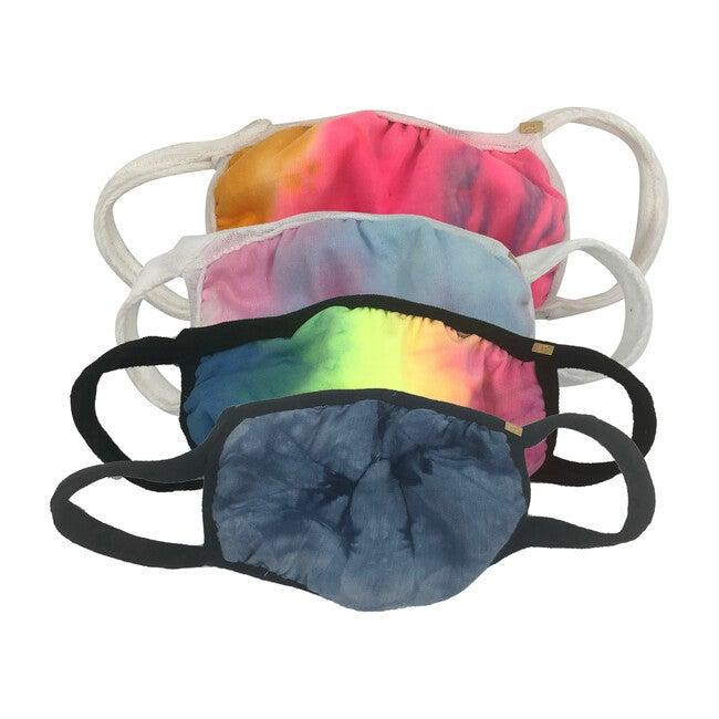 Tie Dye Face Mask Set of 4 in Rainbow, Neon Rainbow, Navy Blue & Pastel