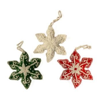Embroidered Snowflake Ornaments, Set of 3