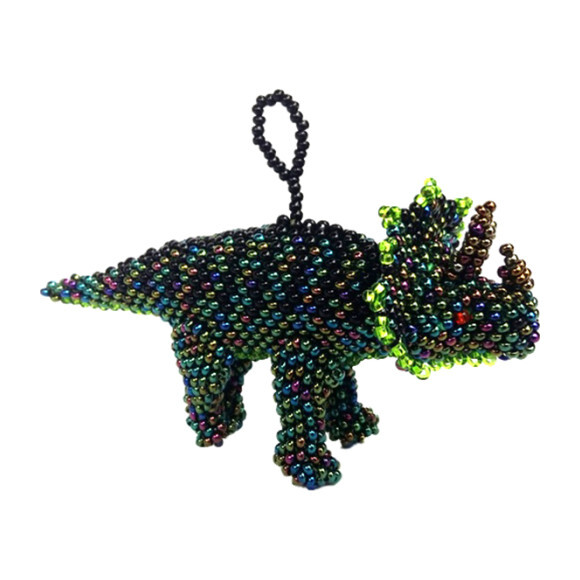 Beaded Triceratops Ornament, Green