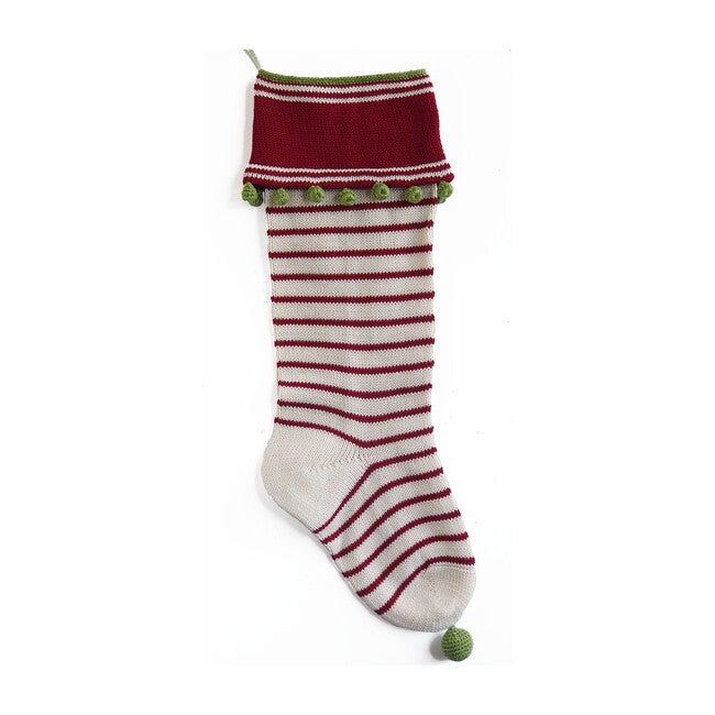 Thin Stripe Stocking, Smooth Cuff with Stripes, Ecru/Red