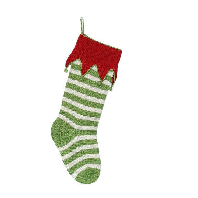 Elf Cuff Stripe Stocking, Green & Ecru with Red Cuff