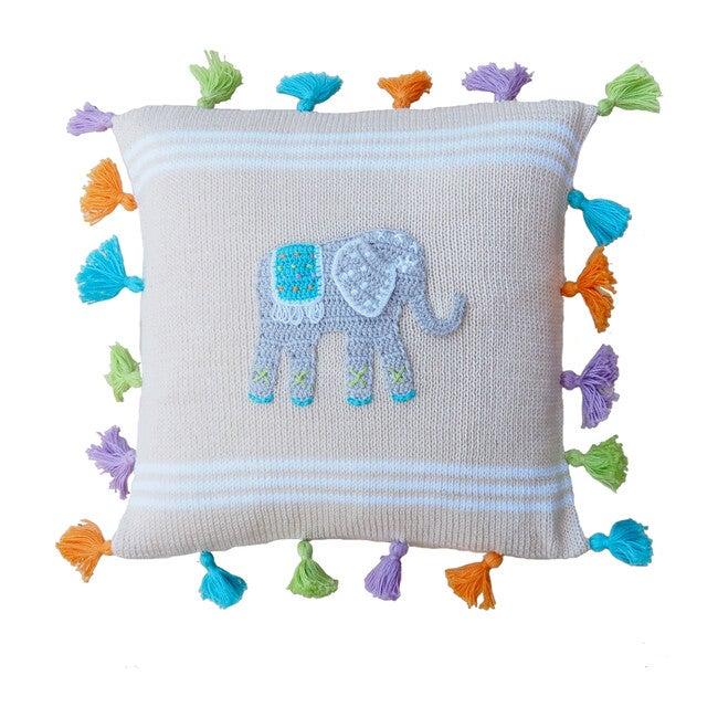 Elephant Tassel Pillow, Multi