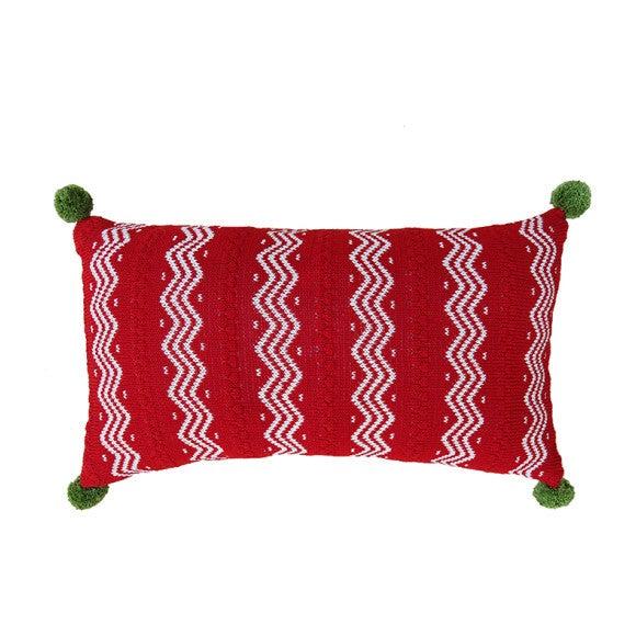 Zig Zag Lumbar Pillow with Pom Poms, Red