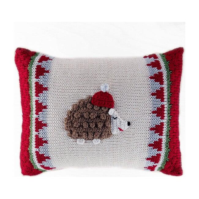 Mini Winter Hedgehog Pillow, Red/Ecru
