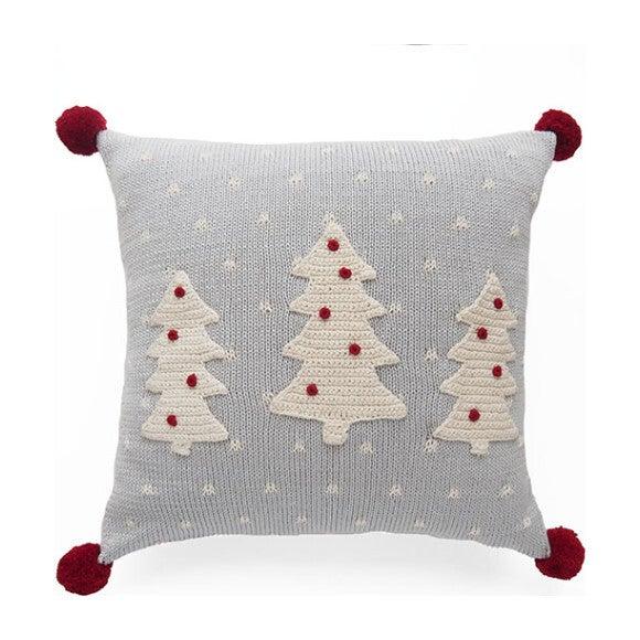 Three Tree Pillow with Pom Poms, Grey/Red