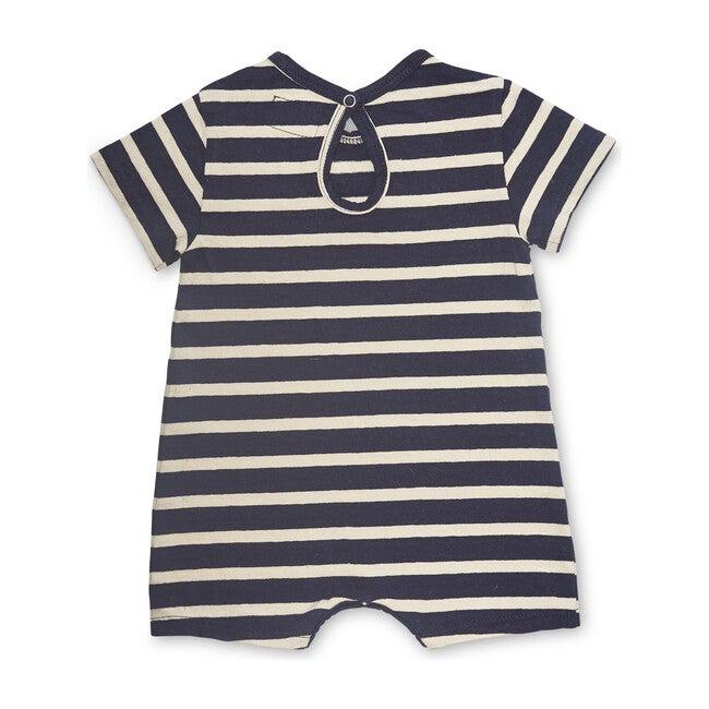 Knit Oversized Romper, Navy Stripe
