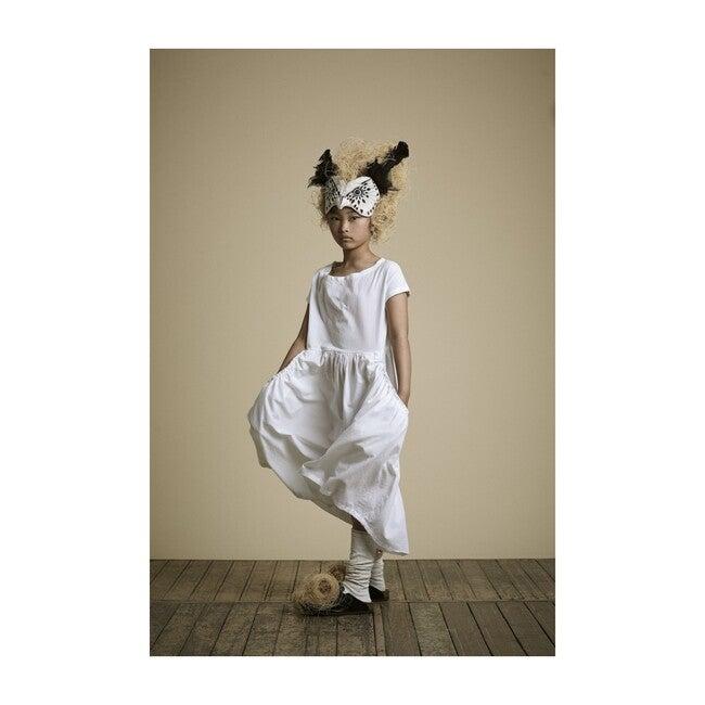 Crushed Cotton Dress, White