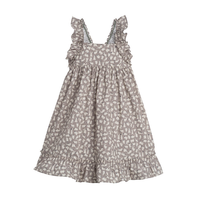 Mila Ruffle Tie Back Dress, Grey Scattered Bunnies