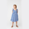 Mila Ruffle Tie Back Dress, Royal Blue Gingham