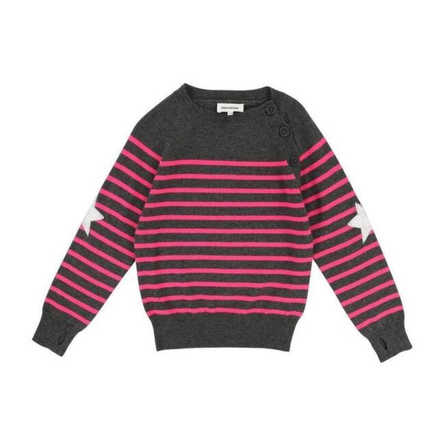 Striped Sweater, Gray
