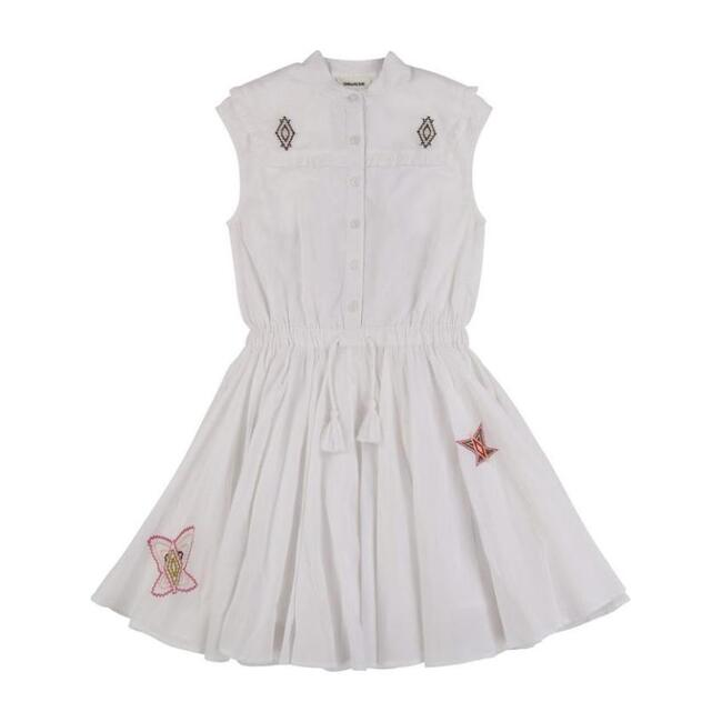Embroidered Butterfly Dress, White
