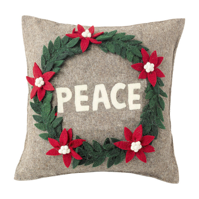 Peace Wreath Pillow Cover, Grey
