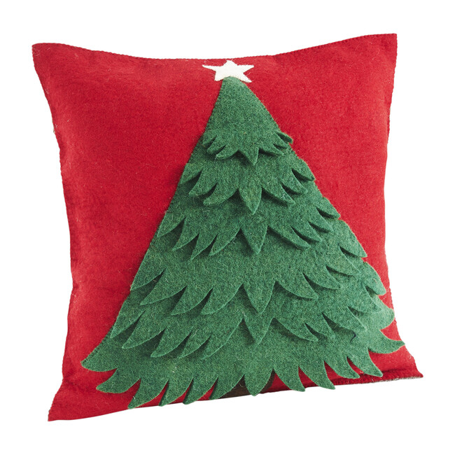 Wool Christmas Tree Pillow Cover, Red