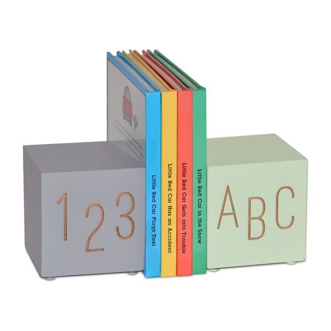 ABC123 Bookend Set, Grey/Mint