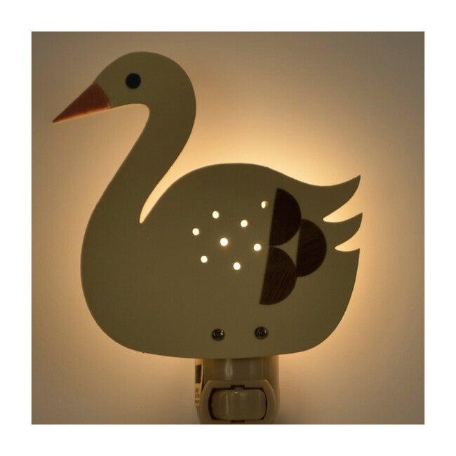 Handpainted Plug-In Nightlight, White Swan