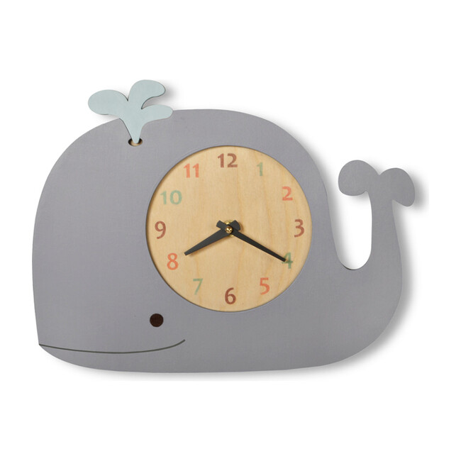Handpainted Animal Wall Clock, Whale with Blue Spout