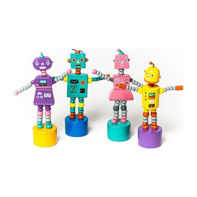 Retro Robots Push Puppets, Set of 4