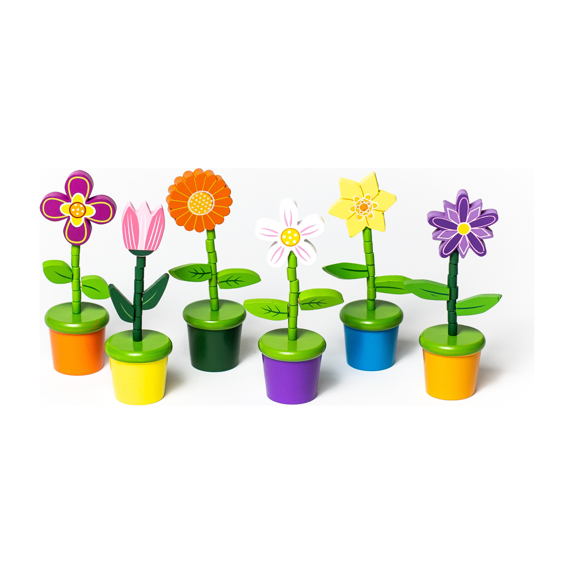 Flower Push Puppets, Set of 6