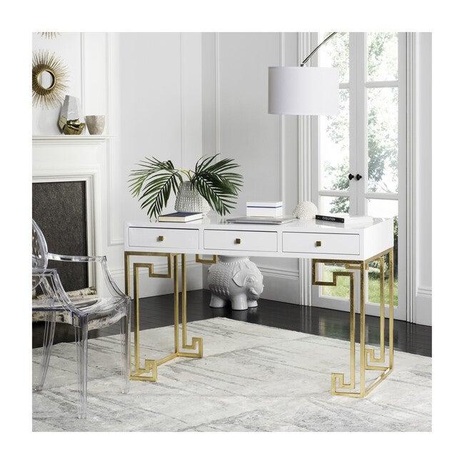 Valeria Writing Desk, White/Gold